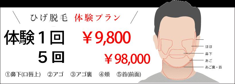 「ヒゲ脱毛 体験プラン」初回体験 1回 1,000円(※脱毛が初めての方)/鼻下・あご・ほほ・もみあげ・あご裏の中から1か所